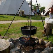 Een Bourgondisch maal in een uitzonderlijke setting in een van de tipi-tenten.