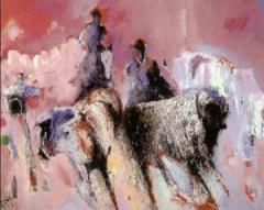 Opmerkelijk is zijn bijzondere kleurgebruik in een stijl, die enigszins abstract expressionistisch aandoet.